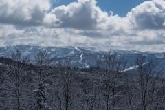 Widok na pasmo Baraniej Góry z dominującym Skrzycznym